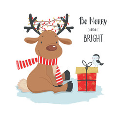 Cute Christmas deer with little bird and gift