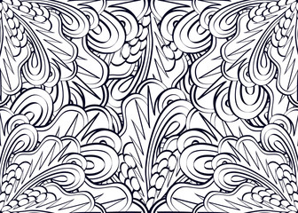 Happy New year! Coloring pages for adults and older children. Vector floral, mandala, patterns. abstract floral background. Decorative pattern, Geometric pattern. black and white. EPS 10