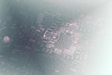 Black circuit board close up