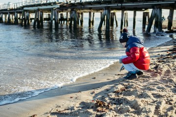 Little boy child on the beach.