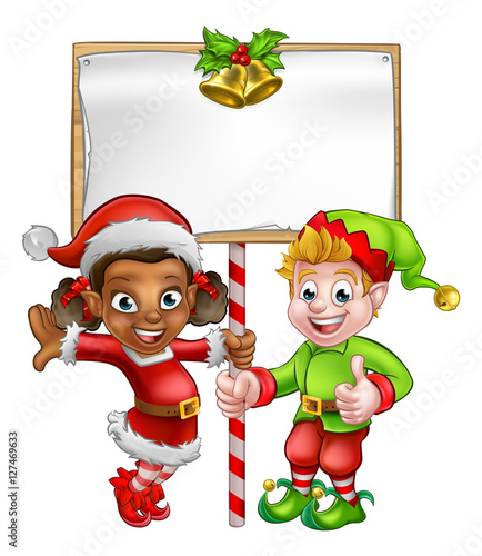 Quot Cartoon Christmas Elves Holding Sign Quot Stock Image And