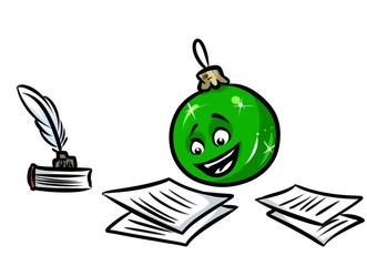 Christmas ball ornament congratulations letter cartoon illustration isolated image character