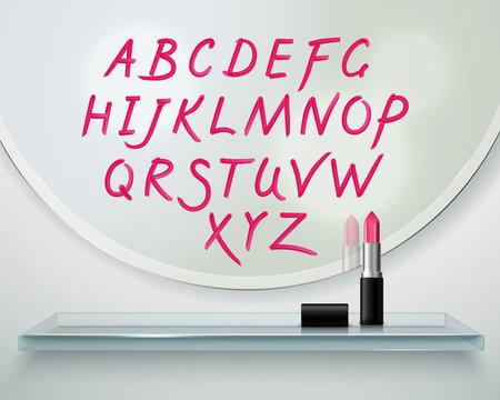 Lipstick Alfabet Shelf Mirror Realistic Composition