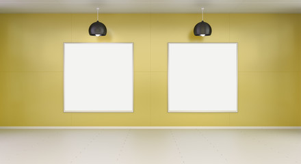 Two white blanks canvas on a wall 3D rendering