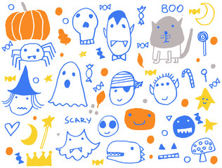 Halloween party card, flayer, banner, poster templates. Hand drawn traditional symbols, cute design elements, handwritten ink lettering
