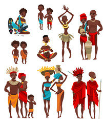 African  People Clothing Flat Icons Collection