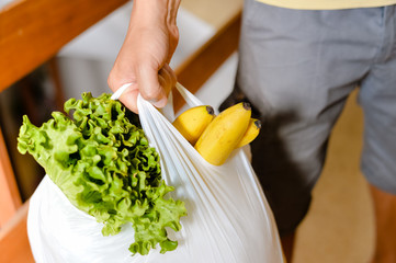 Male carrying bag in his hand after shopping. Closeup of bag full of fruits and vegetables.