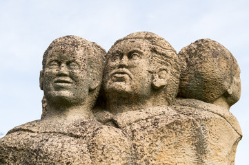 Old statues in the destroyed village