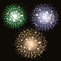 Vector illustration. Fireworks on a dark background