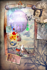 Magical window with hot air balloon and vintage stamps