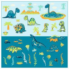 Set of funny cartoon dinosaurs