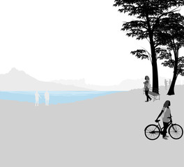 Scenic lake vector silhouette people nature landscape background