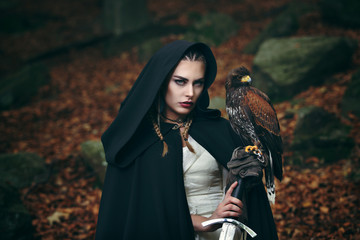 Female warrior with sword and hawk