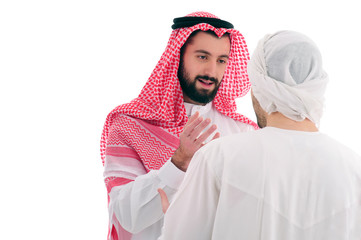 Two Young Arabian Businessmen discussing work over a white background, business concept