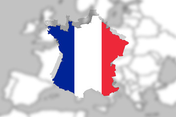 Close up on France on Europe background