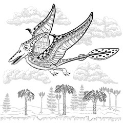 Pterodactyl - prehistoric monster in nature. Antistress Coloring