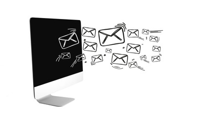 Email icons going out a computer