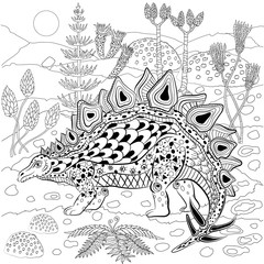 Stegosaurus in nature. Antistress Coloring Book for adults
