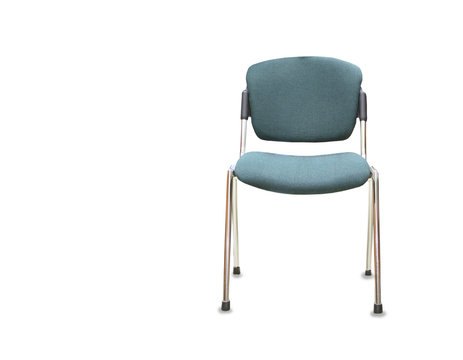 Modern office chair from green cloth over white