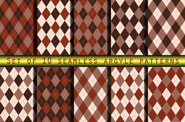 Set of seamless argyle patterns in henna brown palette. Diamond check print for jerseys, polos, socks & knickers. Traditional textile design for golf, basketball, cycling & curling team uniforms.