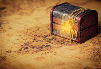 Old Treasure chest with shinny gold.