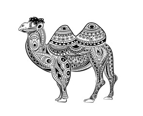 Stylized vector camel, zentangle isolated on white background.