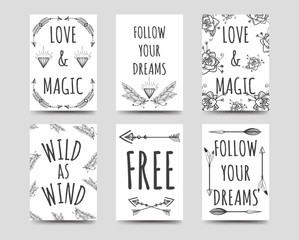Boho style cards collection with hand drawn arrows flowers feathers and lettering vector