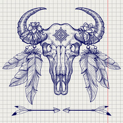 Hand drawn buffalo skull ball pen sketch with vector indian feathers headdress and arrows