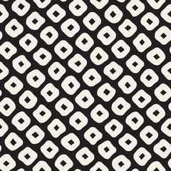 Vector Seamless Black and White Hand Drawn Rhombus Pattern