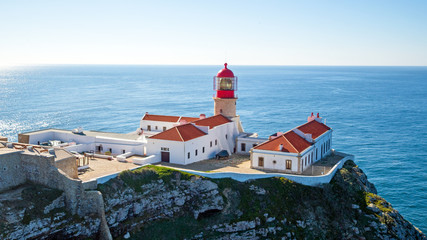 Aerial from lighthouse Cabo Vicente in Sagres Portugal Wall mural