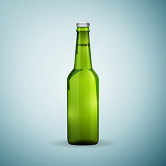 Glass beer green bottle icon isolated on blue background. Vector Illustration