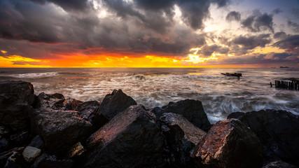 Sunset. Beautiful sunset Black sea. Gold sea sunset. Picture Sea
