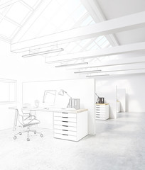 White office with cubicles in the attic
