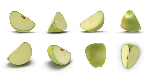 Sliced green apple renders set from different angles on a white. 3D illustration
