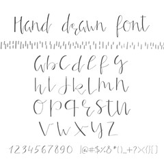 Hand drawn creative font. Unique lettering. Vector illustration