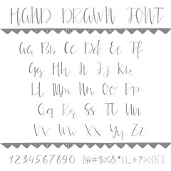 Hand drawn creative font. Unique lettering. Vector illustration