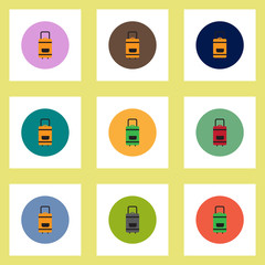 Collection of stylish vector icons in colorful circles travel suitcase