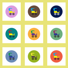 Collection of stylish vector icons in colorful circles retro carriage