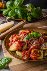 Roasted gnocchi with tomato souce