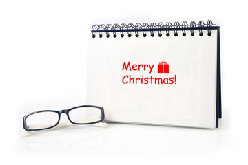 Desktop Loop wire binding book with Merry Christmas text and mod