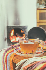 Cup of hot tea wrapped in a cozy winter checkered scarf and books on the table in the room with  flames of fire in a fireplace. Cozy home concept. Coloring and processing photo.