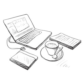 Workplace with laptop, notebook and cup of coffee