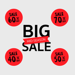 Set of big Sale Badges, vector illustration