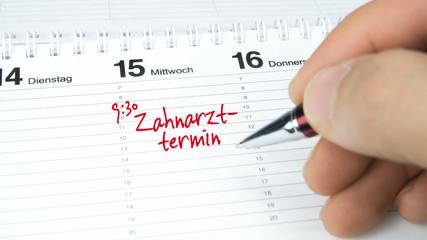 Zahnarzt / Termin im Terminkalender / Terminplaner