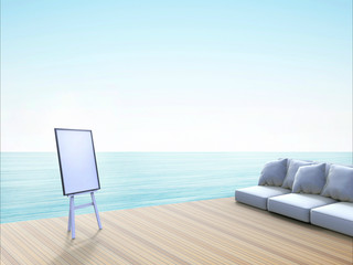 Modern Beach lounge and board Easel - Sundeck on Sea view for vacation / Background