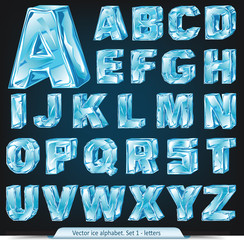 Vector ice alphabet. Letters