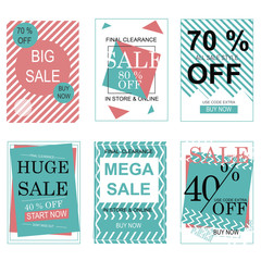 Great designed set of sale posters