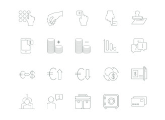 Banking, finance thin line icons.