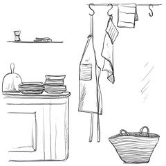 Textiles apron. Hand drawn kitchen interior