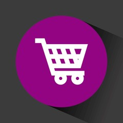 supermarket cart icon inside purple circle over black background. vector illustration